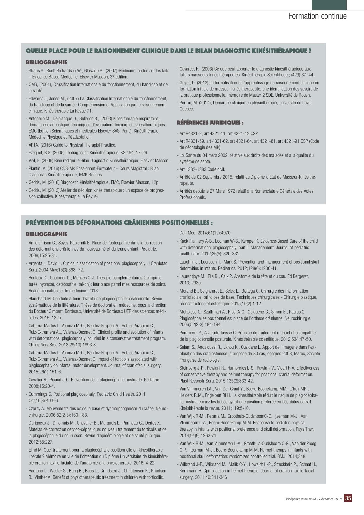 Mathilde Elind - Déformations crâniennes positionnelles - Plagiocéphalie - Brachycéphalie - Tête plate bébé - Torticolis - Bibliographie