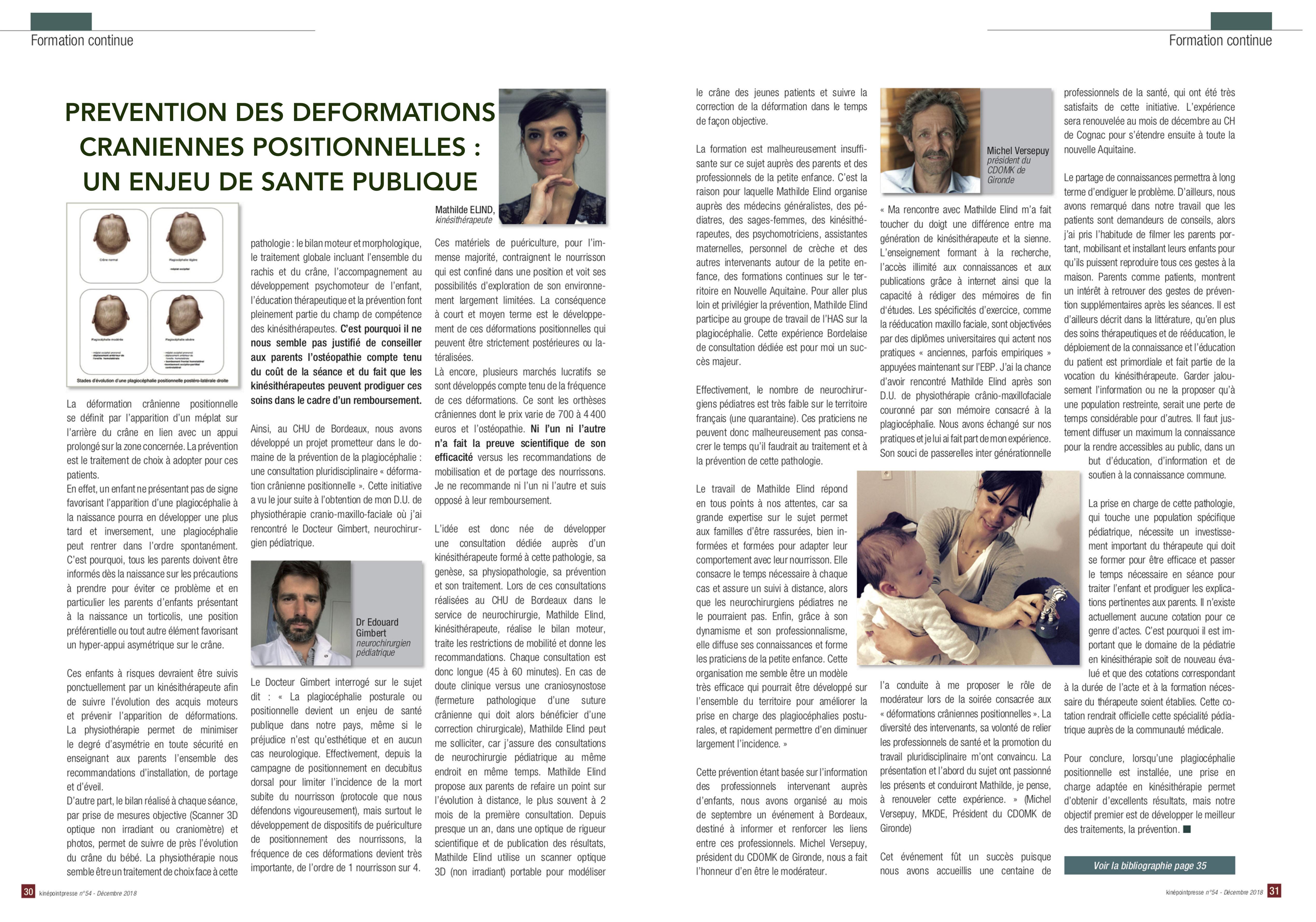 Mathilde Elind Kiné Bordeaux Place des Quinconces déformations crâniennes positionnelles plagiocéphaie brachycéphalie pédiatrie tête plate